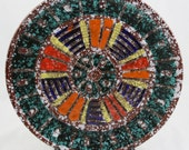 "Raymor Bitossi Aldo Londi mid century Italian large platter sgraffito art pottery plate 12"""