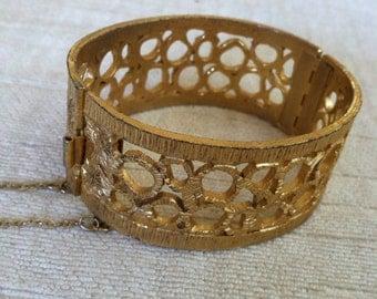 Gold Open Metal Work Vintage NAPIER Hinged Bracelet