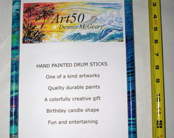 Cool Christmas Gift Colorful Hand Painted Playable Drum Sticks artbydennis