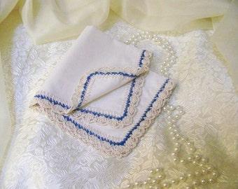 Bridesmaids Handkerchief, Hanky, Hankie, Hand Crochet, Blue, Custom, Embroidered, Personalized, Monogrammed, Crochet, Custom colors