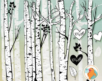 Birch Tree Clip Art, Winter Forest, Tree Branch ClipArt Outlines, Branch Silhouettes + Photoshop Brush, Natural Woodland Tree Images