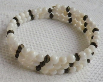 White Mother-of-Pearl Wrap-Around Bracelet