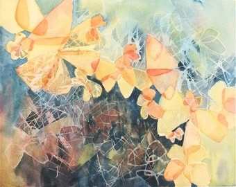 abstract Butterfly painting, yellow gold, blue, an original abstract watercolor painting fine art