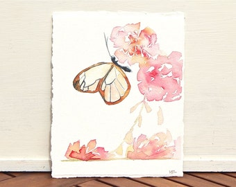 Glasswing butterfly- small original watercolor painting, pink flowers, minimalist