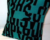 Letters MCM Decorative Pillow Cover -  Aqua - Wool Blend - Gunnar Aagaard Anderson - Kvadrat - Maharam - Choose your Size