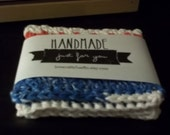 Hand Crocheted Washcloth/Dishcloth - 100% Cotton - Red/White/Blue