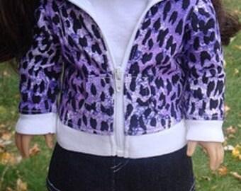 Purple Animal Print Hoodie & Denim Mini Skirt For 18-Inch Dolls
