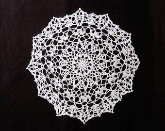 Starburst Decor Crochet Lace Doily, White, Table Centerpiece, Elegant Star Decor, New