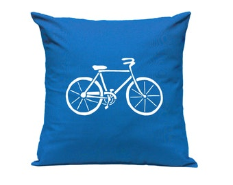 Pillow Cover - Bicycle in Blue - Hand Screen Printed Cushion Cover