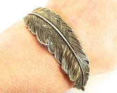 Steampunk Feather Bracelet- Antiqued Brass Ox Finish- Large Feather