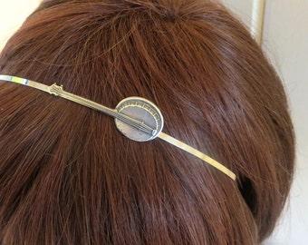 Banjo Headband- Metal Headband- Steampunk Hair Accessories- Silver