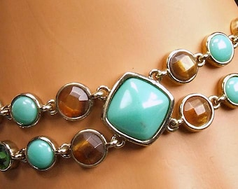 Vintage Double Chain Green Amber Turquoise Colored Rhinestone Blue Stone Costume Jewelry Bracelet Chic TNTeam ATCTTEAM