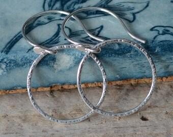 Fine Silver Hoop Earrings Hand Formed Fused Fine Silver Rings Hammered Hoop Earrings Classic Everyday Jewelry for Women Earrings Under 40