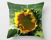 Sunflower Pillow Cover, Freesia Ranch Home Decor, Yellow Throw Cushion Case, Cottage Accessory, Farmhouse Couch Accent, Gift for Farmer