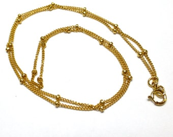 Gold Filled Tiny Delicate Precious Link and Bead Beaded Chain for Lightweight Pendants 14kt Yellow 16 Inch