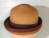 RESERVED for Maureen Awesome Vintage Ladies or Childs Roll Brim Straw Hat
