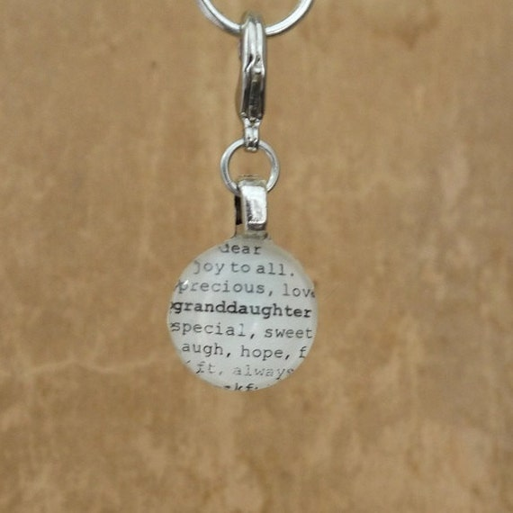 Granddaughter Charm Dictionary Word Clip-on Glass Gem by Kristin Victoria Designs
