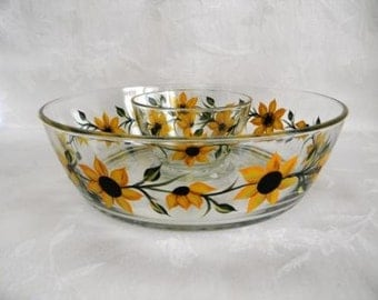 Chip and dip bowl, hand painted serving bowl, large serving bowl, sunflower serving bowl