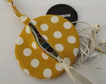 Dollbirdies Circular Pouch for Lens Caps, Ear Buds, IPod Nano, Coins, Etc.