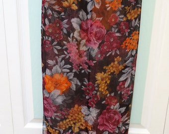 "Vintage, scarf, rayon, floral print, black, rose, orange,gold and grey.-13.5"" wide  by 62"" long"