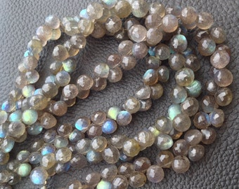 Brand New, Full 8 Inch Long Strand,Finest, Blue Flashy LABRADORITE Faceted Onions Shaped Briolettes, 6-7mm Long size,Promotional Price