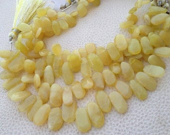 AMAZING Rare YELLOW OPAL Smooth Fancy Shape Briolettes, Very-Finest Quality 14-15mm Long size.