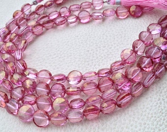 New Stock, Full 8 Inch Strand Mystic PINK Quartz Faceted COIN Briolettes, 8-9mm,Manufacturers Price