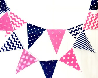 Party Bunting, Banner, Fabric Pennant Flags, Nautical Girl, Birthday, Navy Blue, Hot Pink, Anchors, Chevron, Baby Nursery Decor, Garland