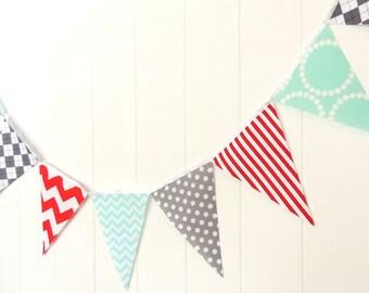 Banner, Bunting, Fabric Pennant Flags, Baby Shower, Birthday Party, Red, Aqua Blue, Grey, Chevron, Argyle, Birthday Party, Boy Room Decor