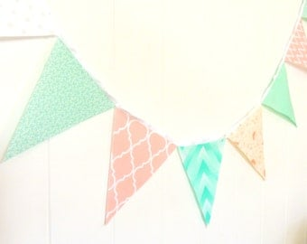 Peach, Mint Fabric Bunting, Pennant Flags, Wedding Party Banner, Chevron, Quatrefoil, Photo Prop, Baby Nursery Decor, Bridal Shower Garland
