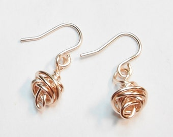 Rose Gold Love Knot Dangle Earrings Silver Plated Handmade Ear Wires Rose Gold Jewelry Wire  Wrapped Other Colors Available