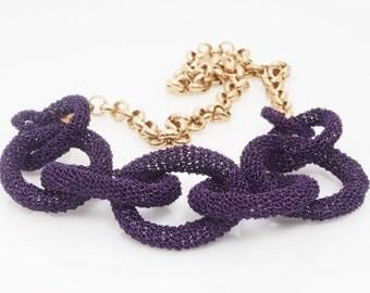 Purple statement Necklace, Loop Necklace, Wire Crochet Necklace, Purple  Necklace, Chic Necklace,