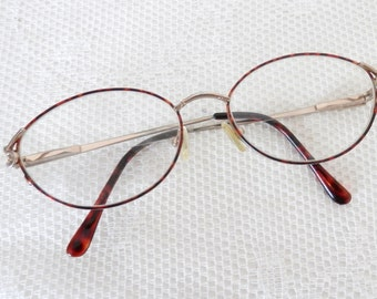 Vintage Red Wire Rim Glasses with Tortoise Shell Stems - Ladies Eye GLass Frames