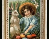Victorian Easter Girl Miniature Dollhouse Art Picture 6621