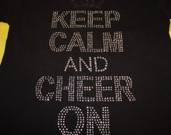 Keep Calm And Cheer On Bling Shirt, Cheer Mom Shirt, Spirit Shirt, Cheer Shirt, Cheerleader Shirt, Bling Shirt, Rhinestone Shirt,
