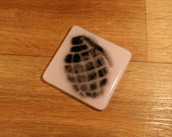 Grenade Stencilled Glass Coaster - made to order in any colour
