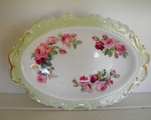 Reserved Lydia-Vintage Pink and Green Cabbage Rose Decorative Dish