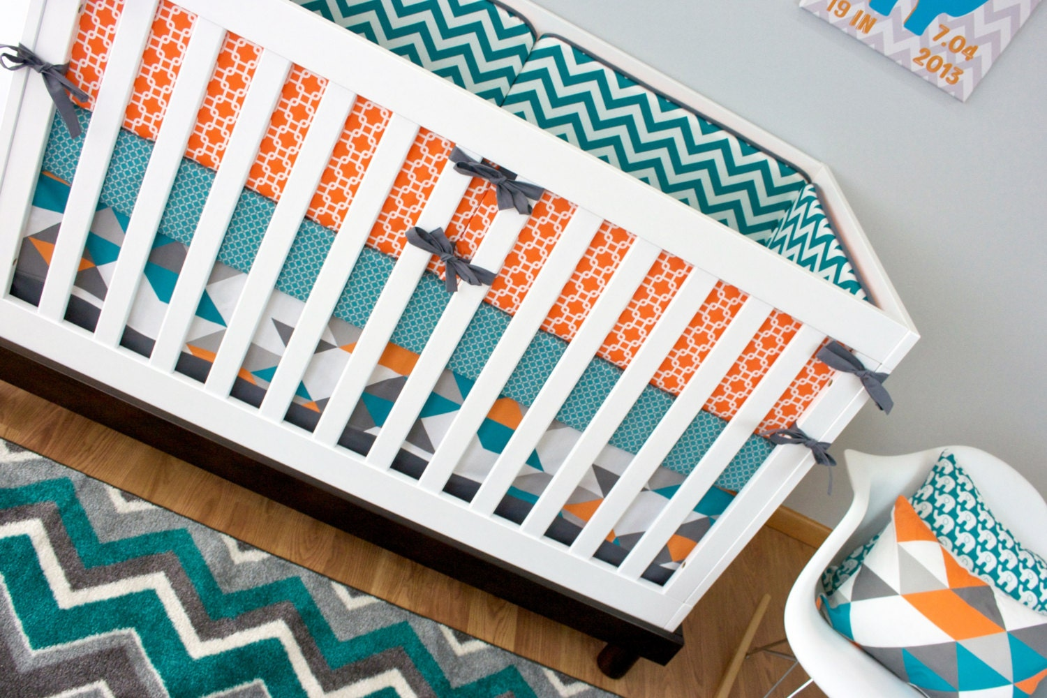 crib bedding boy turquoise orange nursery bedding baby crib - 🔎zoom