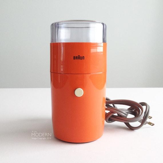 Braun Coffee Grinder ~ Vintage braun ksm aromatic orange coffee grinder