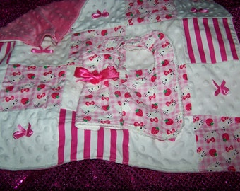 Inspired Hello Kitty Baby Girl Quilt Pink Minky Bib on Chenille Washcloth on Teri Gift Set New Arrival Coming Home Baby Shower Gift Newborn