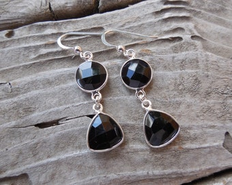 Faceted Onyx earrings in sterling silver 925