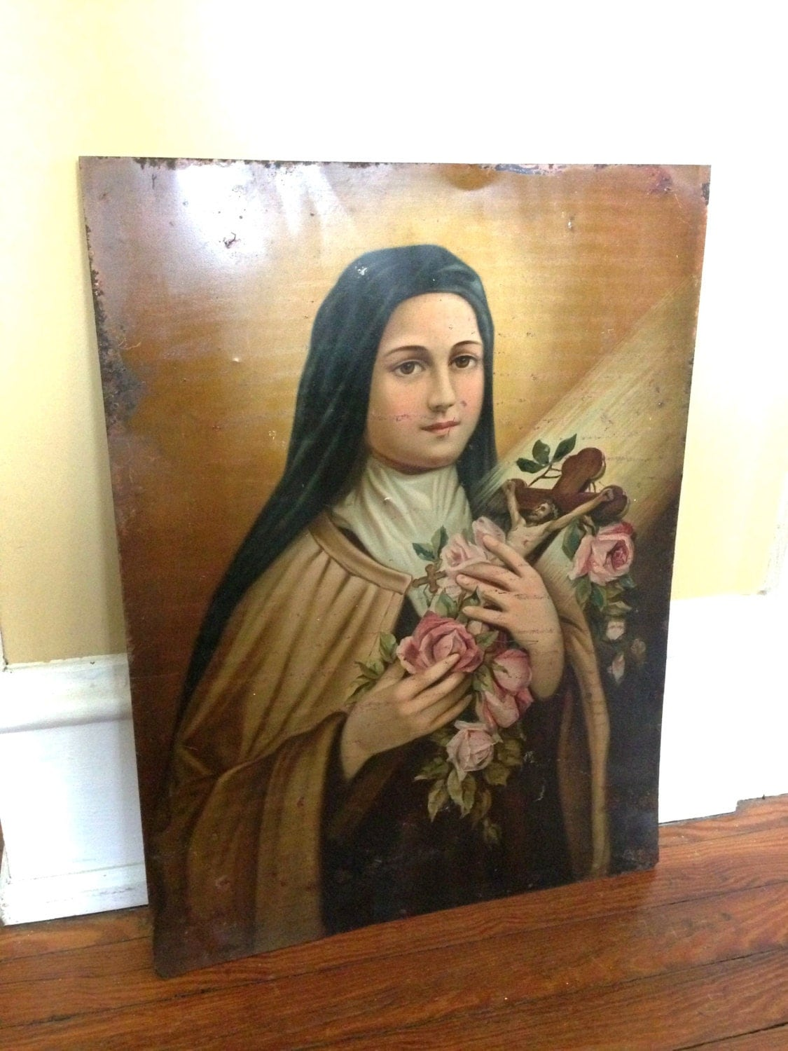 Vintage St Therese Tin St Therese Litho St Therese