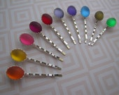 Jellybeans . single bobby pin . girls hair accessory . frosted glass . choose 1 color