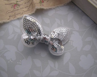 Silver Sequin Butterfly . boutique clippie . girls hair accessory