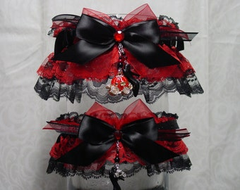 Red and Black Cinderella Rhinestone Pumpkin Carriage Wedding Garter Set