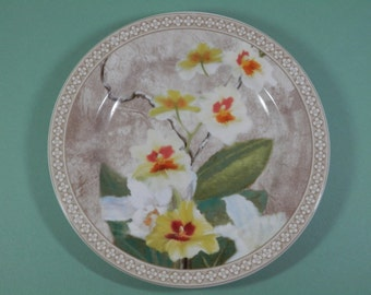 "8"" Vintage Salad Plate American Atelier At Home Orchid Pattern China Dessert Cake Candle Dish White Yellow Ecru Floral Replacement Display"