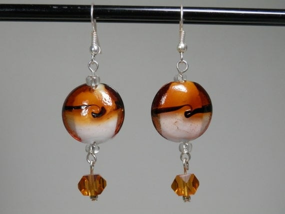 Amber Cream & Black Ocean Wave Lampwork Bead Earrings Silver Tone French Ear Wire Caramel Faceted Cube Glass Neutral Earth Tone Elegant Gift