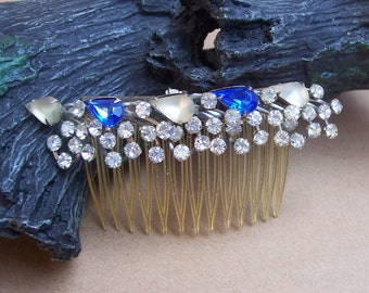 Vintage hair comb Hollywood Regency rhinestone hair accessory hair pin hair barrette hair clip hair slide hair jewelry headdress