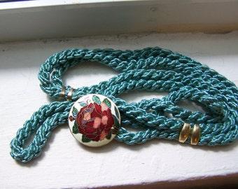 CLEARANCE  Cloisonne Blue Gold Belt