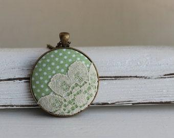 Pastel Green Necklace, Polka Dot Wedding, Unique Gift, Lace Pendant, Boho Flower Jewelry